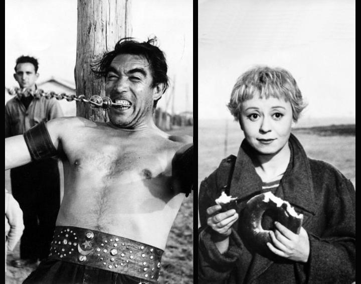Кадры из фильма «Дорога» - «La strada» (реж. Федерико Феллини, 1954) - Энтони Куинн, Джульетта Мазина